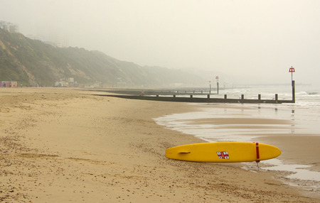bournemouth: Foggy morning on the beach in Bournemouth, UK Stock Photo