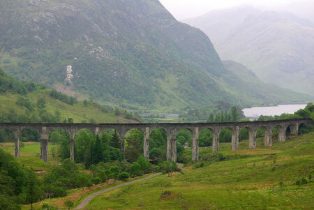 highlands region: Glenfinnan Viaduct in Scotland in summer day