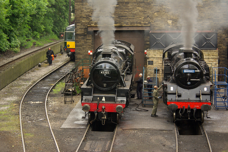 Steam locomotives at the railway station in Haworth, UK Editorial