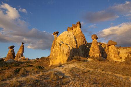 Cappadocia in Central Anatolia in Turkey in summer day photo