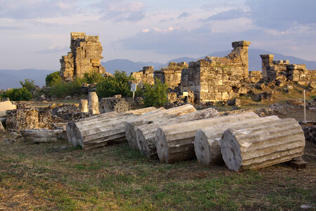 hierapolis: Ruins of ancient Hierapolis at sunset, Pamukkale  Turkey
