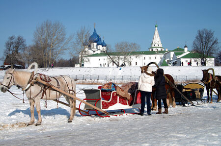 horse sleigh: SUZDAL, RUSSIA - February 21, 2015: Horse carriage on the background of the Kremlin