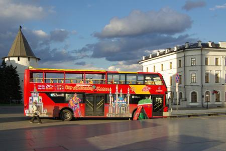 excursions: KAZAN, REPUBLIC TATARSTAN, RUSSIA - May 07, 2014: Regular bus excursions Editorial