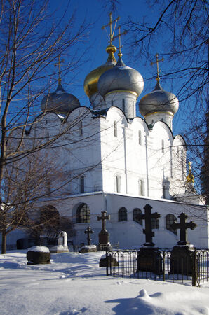 convent: MOSCOW, RUSSIA - February 10, 2015: Novodevichy convent in winter day