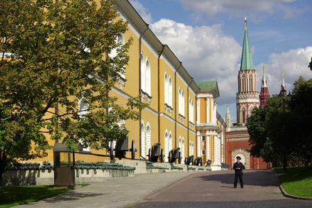 MOSCOW, RUSSIA - August 23, 2014: View of the St. Nicholas Tower in Moscow Kremlin
