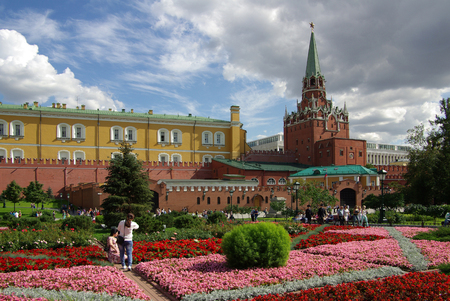 MOSCOW, RUSSIA - August 23, 2014: View of the Trinity Tower of Moscow Kremlin from the Alexander Garden