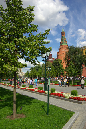 MOSCOW, RUSSIA - August 23, 2014: View of the Corner Arsenal Tower of Moscow Kremlin from the Alexander Garden