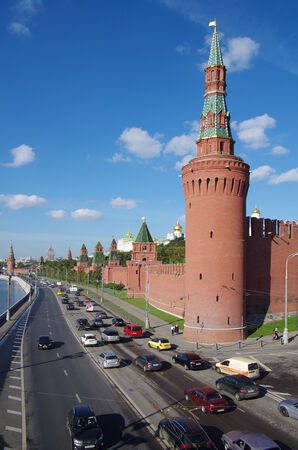 castle district: MOSCOW, RUSSIA - September 17, 2014: The Kremlin Embankment