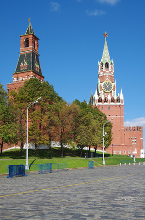 castle district: MOSCOW, RUSSIA - September 17, 2014: View of the Red Square with Vasilevsky descent