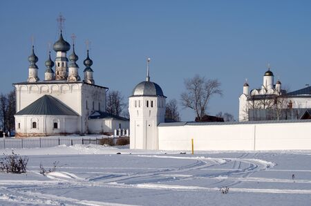SUZDAL, RUSSIA - February 21, 2015: The Convent of the Intercession and Saints Peter and Paul Church in winter day