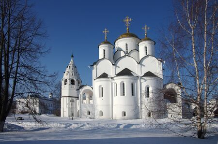 SUZDAL, RUSSIA - February 21, 2015: The Convent of the Intercession in winter day