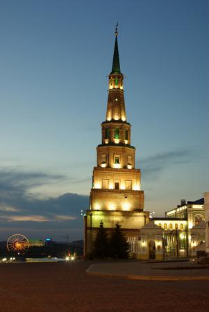 KAZAN, RUSSIA - May 08, 2014: Leaning Soyembika Towerin the evening