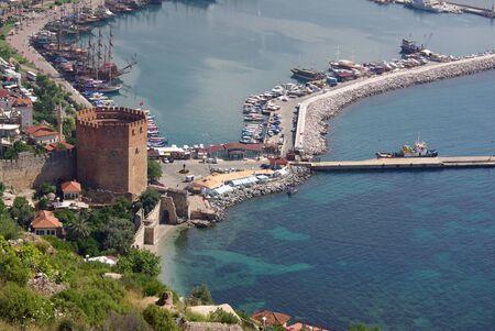 ALANYA, TURKEY - June 16, 2014: Red Tower named K?z?l Kule in Alanya