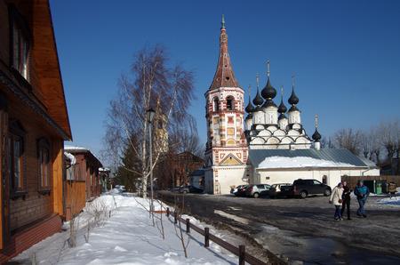 lazarus: SUZDAL, RUSSIA - February 21, 2015: Lazarus Church And Antipievskaya Church in winter day