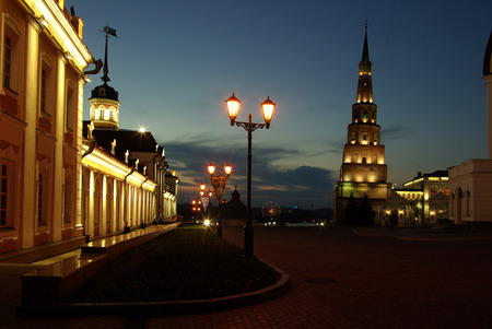 KAZAN, RUSSIA - May 08, 2014: Leaning Soyembika Towerin the evening photo