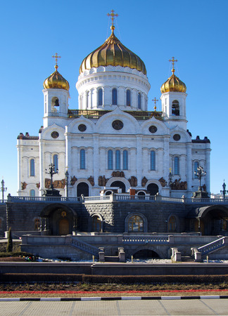 saviour: MOSCOW, RUSSIA - March 16, 2015: The Cathedral of Christ the Saviour in spring day