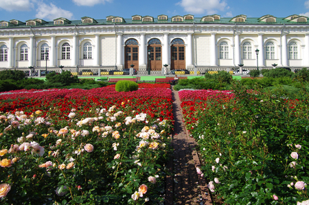 MOSCOW, RUSSIA - September 14, 2015: Bright flowerbed in the Alexander Garden