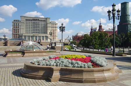 beauty fountain: MOSCOW, RUSSIA - September 14, 2015: Bright flowerbed on the Manezhnaya square