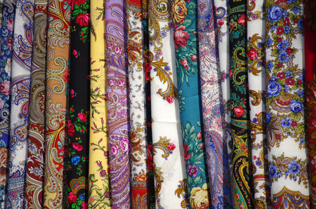Colorful display of scarves in a market in Moscow, Russia