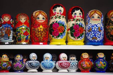 Colorful Russian nesting dolls at the market in Moscow Editorial