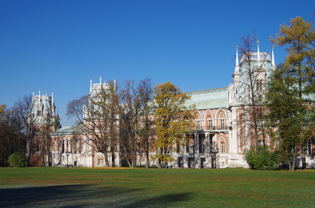 by catherine: MOSCOW, RUSSIA - October 21, 2015: Grand Palace in Tsaritsyno in autumn day