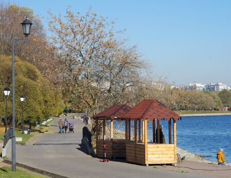 wheather: MOSCOW, RUSSIA - October 21, 2015: Park at the Kolomenskoye estate in autumn day