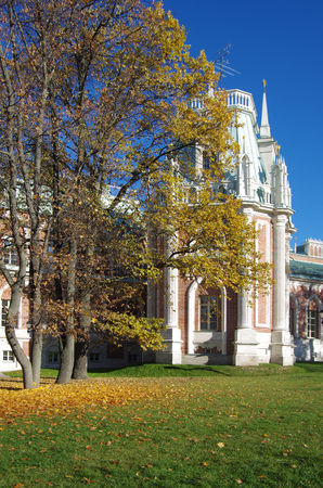 tsaritsyno: MOSCOW, RUSSIA - October 21, 2015: Grand Palace in Tsaritsyno in autumn day