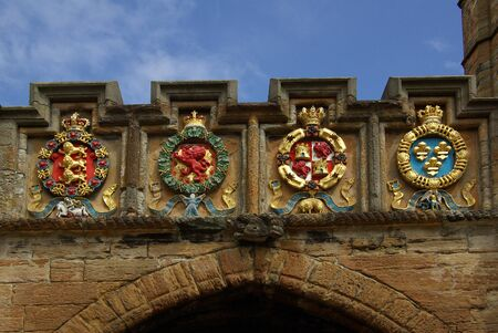 buckler: LINLITHGOW , SCOTLAND - June, 2013: Scottish coat of arms in Linlithgow palace