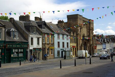 lothian: LINLITHGOW , SCOTLAND - June, 2013:  Old street in the town of Linlithgow