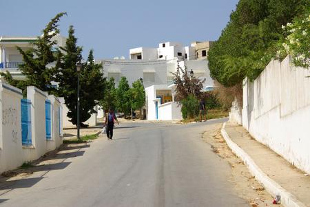 sidi bou said: TUNISIA, AFRICA - August 02, 2012: Streets in Sidi Bou Said  in summer day