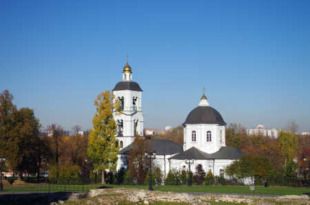 the tsaritsyno: MOSCOW, RUSSIA - October 21, 2015:   Church of Our Lady of Life-Giving Spring in Tsaritsyno