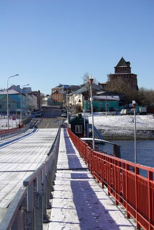 movable bridge: KOLOMNA, RUSSA - April, 2014: Movable floating bridge through Moscow river in Kolomna town