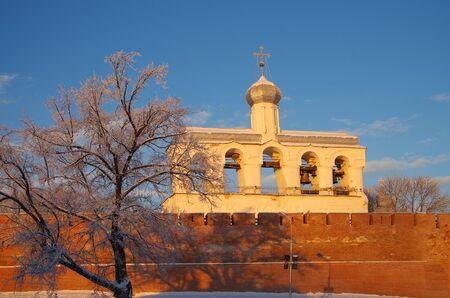 veliky: VELIKY NOVGOROD, RUSSIA - January, 2016: The bell tower of St. Sophia Cathedral in Veliky Novgorod Editorial
