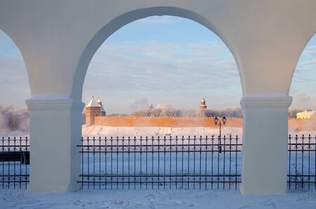 volkhov: VELIKY NOVGOROD, RUSSIA - January, 2016: View of Yaroslavs Court in winter day, Veliky Novgorod,Russia Editorial