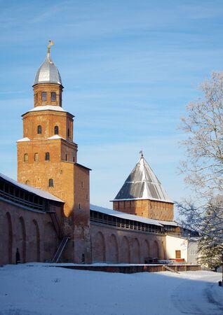 veliky: VELIKY NOVGOROD, RUSSIA - January, 2016: Kokui  tower of Novgorod Kremlin in Veliky Novgorod, Russia Editorial