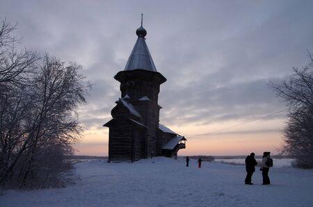onega: KONDOPOGA, KARELIA, RUSSIA - January, 2016: Assumption of Mary wooden church in Kondopoga city, Karelia, Russia Editorial