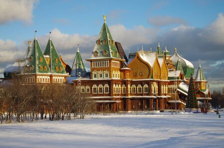 tsar: MOSCOW, RUSSIA - December, 2015: Palace of Tsar Alexei Mikhailovich in Kolomenskoye in winter day Editorial