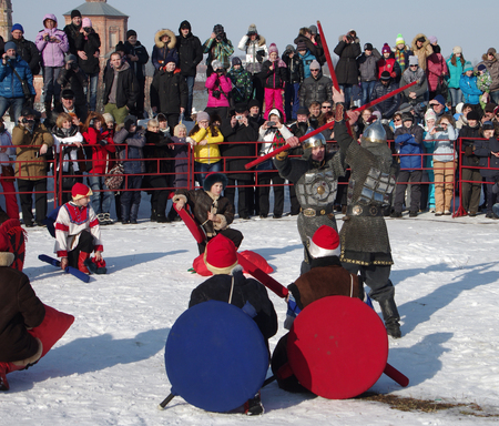 maslenitsa: SUZDAL, RUSSIA - February 21, 2015: Shrovetide - the celebration and folk festival, Suzdal. Maslenitsa or Pancake Week is the ancient Slavic Holiday