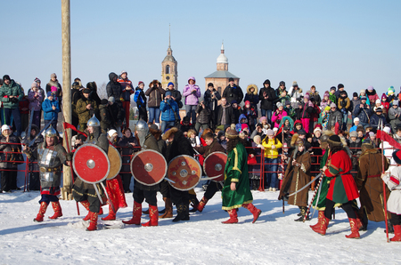 pancake week: SUZDAL, RUSSIA - February 21, 2015: Shrovetide - the celebration and folk festival, Suzdal. Maslenitsa or Pancake Week is the ancient Slavic Holiday