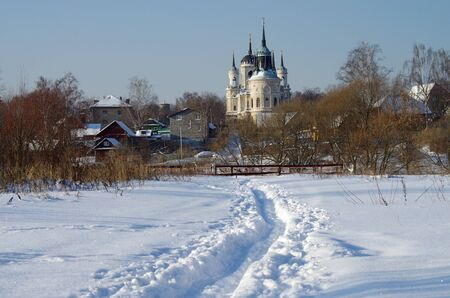 winter wood: BYKOVO, MOSCOW REGION, RUSSIA - January, 2016: Church of Vladimir Icon of Mother of God