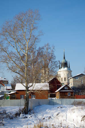 rural scene: BYKOVO, MOSCOW REGION, RUSSIA - January, 2016: Church of Vladimir Icon of Mother of God