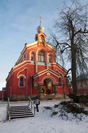 ladoga: STARAYA LADOGA, RUSSIA - January, 2016: Staraya Ladoga St. Nicholas monastery on the banks of the Volkhov river in winter
