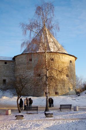 ladoga: STARAYA LADOGA, RUSSIA - January, 2016: Ancient fortress in Staraya Ladoga, Russia Editorial