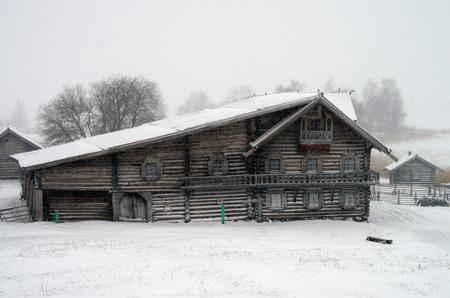 karelia: KARELIA, KIZHI, RUSSIA - January, 2016: North Russian wooden architecture - open-air museum Kizhi, Karelia Editorial