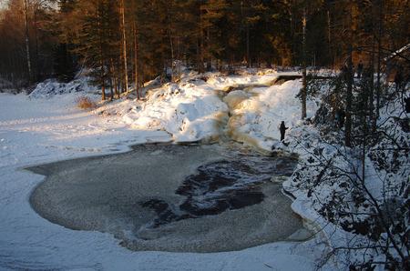 karelia: Waterfall near Ruskeala Marble Canyon in Karelia republic, Northern Russia