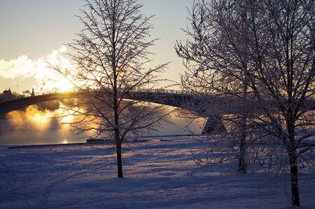 veliky: Sunrise on the Volkhov River in Veliky Novgorod, Russia Stock Photo