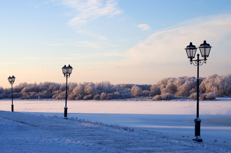 veliky: Lanterns on the promenade in Veliky Novgorod, Russia Stock Photo