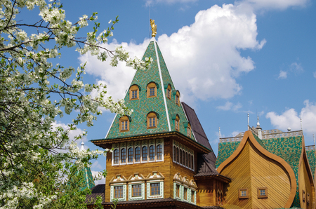 MOSCOW, RUSSIA - MAY, 2016: Palace of Tsar Alexei Mikhailovich in Kolomenskoye in spring day