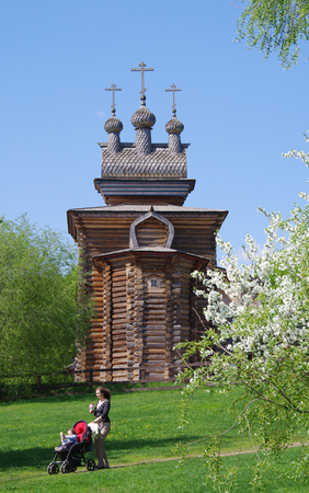 MOSCOW, RUSSIA - MAY, 2016: Kolomenskoye Museum Estate. The wooden Church of St. George in spring day Editorial