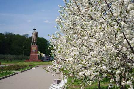 MOSCOW, RUSSIA - May 13, 2015: Monument of Michurin in garden at territory of All Russia Exhibition center in spring sunny day